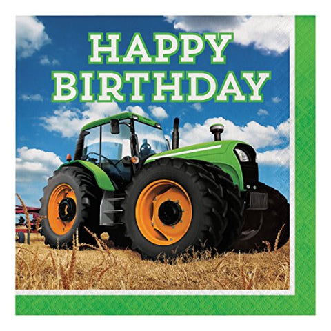 Creative Converting 318052 16 Count Paper Lunch Napkins, Happy Birthday, Tractor Time