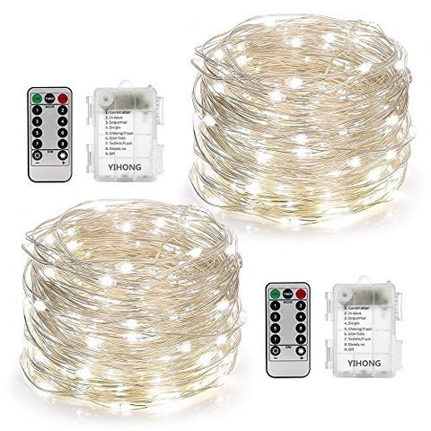 YIHONG 2 Set Fairy String Lights 8 Modes Fairy Lights Twinkling 50 LED String Lights Battery Operated 16.4FT Copper Wire Firefly Lights Remote Control for Bedroom Wedding Festival Decor(White)