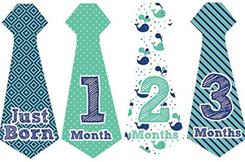 Belly Doodles 16 Monthly Baby Stickers Boys Necktie Nautical 6.6x2.5inch (1-12 Months)