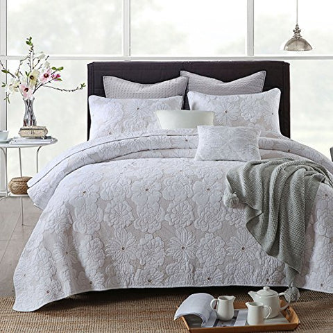 3-Piece Comforter Set, Flower Embroidery Quilt Set, Bedspread Set, White (King)