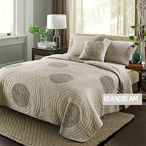 Brandream King Size Taupe Bed Quilt Set Luxury Bedspread Shabby