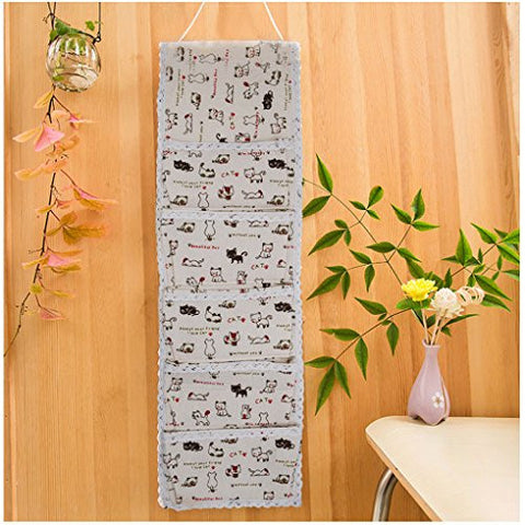 C.A.Z 5 Pockets Over the Door Wall Closet Hanging Storage Organizer Bag Tidy Rack Holder Linen Multilayer Wall Hanging Storage Organizer Bag ( Cats )