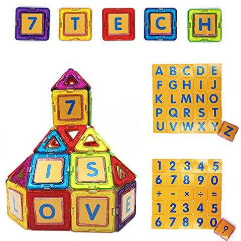 7TECH Magnetic Tiles 3D Building Blocks 49 Pcs Extra 26 Alphanumeric Cards and 16 card cases , Perfect for Brain Development, Endless Fun for Toddler, Preschooler