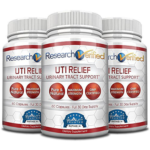 Research Verified UTI Relief - #1 Urinary Tract Infection Support Supplement - 100% Natural - W/ Lingonberry, Cranberry, D-Mannose - 100% Money Back - 3 Bottles (3 Months Supply)