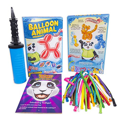 Balloon Animal University PRO Kit 50 Balloons Custom Assortment with Qualatex, Dbl-Action Air Pump, Book, and Online Video Training Series Access. Learn to Make Balloon Animals Kit Starter Set.