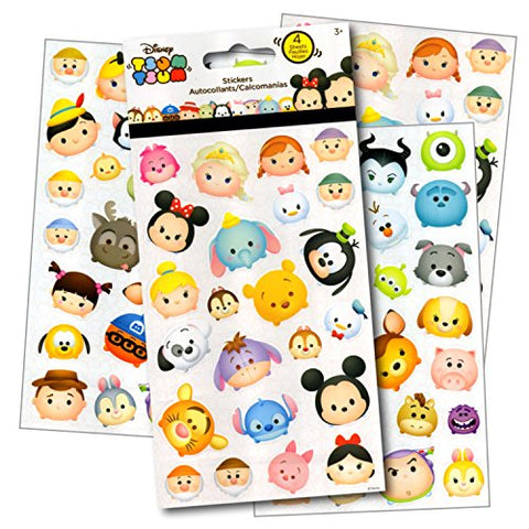 Disney Tsum Tsum Stickers - 4 Sheets of Stickers Featuring Mickey Mouse, Minnie Mouse, also Featuring Tsum Tsum Characters from Frozen, Toy Story, Monsters Inc and Many More by Disney Studios