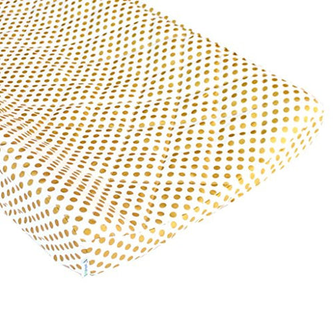 Metallic Gold Dots Quilted Changing Pad Cover - Fits Standard Contoured Changing Pads