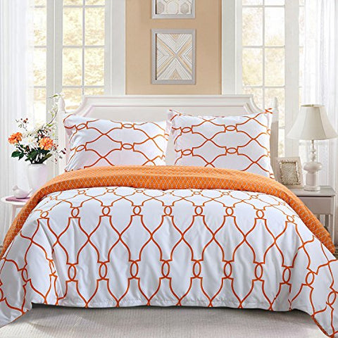 NTBAY 3 Pieces Duvet Cover Set Brushed Microfiber Irregular Printed Pattern Reversible Design with Hidden Zipper(Queen, Orange)