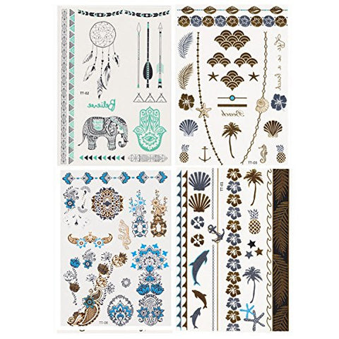 Fun of Jewelry Metallic Golden and Silver Temporary Tattoo Fake Tattoo Waterproof Non-toxic Tattoo Stickers Assorted Set of 4 Pcs: Color B