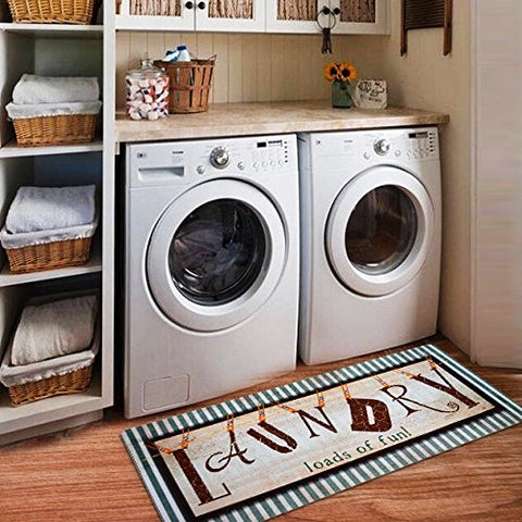 Ustide Vintage Style Waterproof Floor Runners Non Skid Kitchen Floor Mat Laundry Room Cheap Washhouse Mat Bathroom Rugs Non-slip Rubber Area Rug 2x4