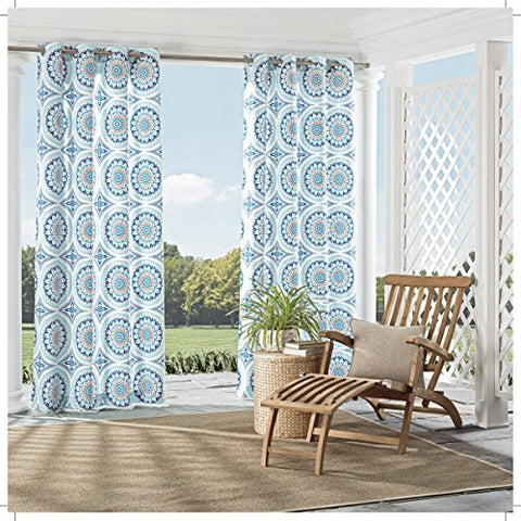 Parasol 15934052084AQU Cayman Indoor/Outdoor Curtains,Aqua,52x84