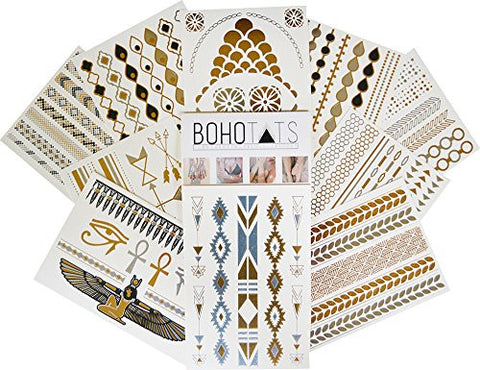 BohoTats Flash Tattoos - Set of 10 Sheets - Party Pack Edition - Over 100+ Intricate Designs - Stunning Metallic Flashtats - Non Toxic - Quality Guarantee - Temporary Metallic Tattoos
