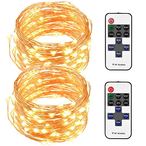 Cymas [Upgraded] LED String Lights, Copper Wire Lights, Waterproof Fairy String Lights with Remote Controller for Outdoor, Wedding, Home, Party, Patio, Garden (Warm White) 2Pack