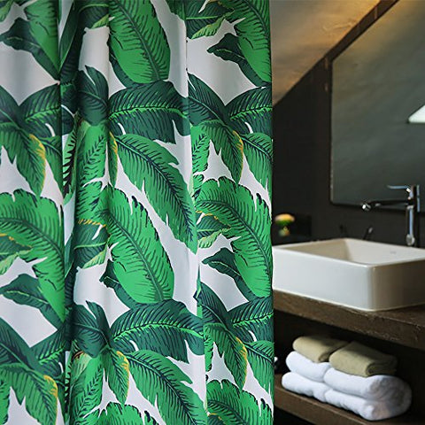 Green Banana Tropical Palm Leaves Fabric Shower Curtain Mold Resistant,Water-Repellent 72W x 78L Inch