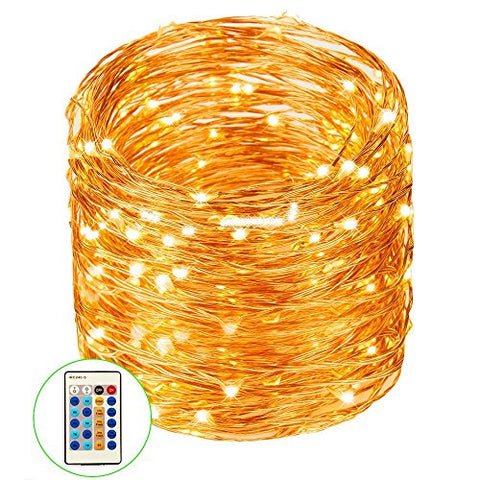 99ft / 30M Copper Wire Lights Dimmable With Remote Control, String Lights 300LED Decorative for Christmas, Patio, Bedroom, Garden, Gate, Yard, Parties, Wedding (Warm White)