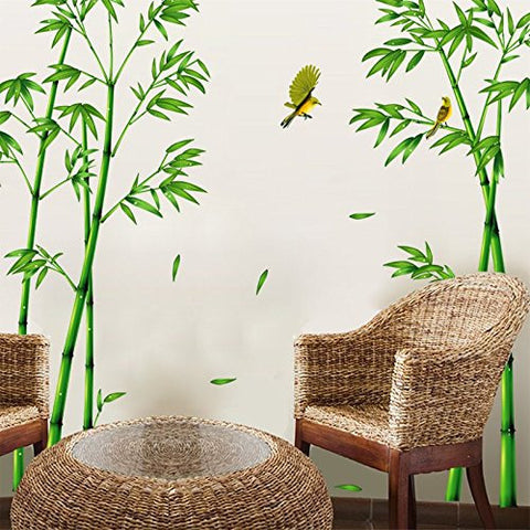 SWORNA Nature Series SN-78 Elegant Green Bamboo Vinyl Removable DIY Wall Art Mural Sticker Decor Decal - Lady Bedroom Office Sitting Living Room Hallway Kitchen Glass Door Window Nursery 65H X 116W