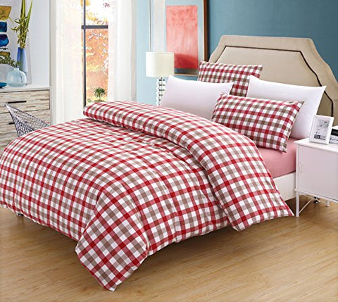 SUSYBAO 3 Pieces Duvet Cover Set - 100% Natural Washed Cotton (Queen/Full) 1 Duvet Cover 2 Pillowcases Luxury Quality Soft Comfortable Breathable Red Plaid Checkered/Tartan Pattern with Zipper Ties
