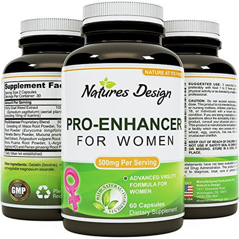 Natural Female Libido Enhancer With Horny Goat Weed + Maca Root Powder + Tongkat Ali + Saw Palmetto + Muira Puama + L Arginine + Panax Ginseng - Pure Supplement For Women By Natures Design