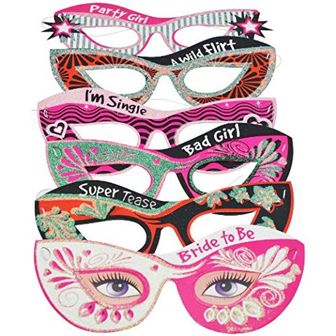 Bachelorette Party Masquerade Masks Set of 6--Perfect Party Favors for the Bride to Be!!!