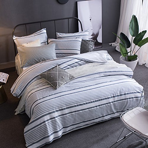 Merryfeel 100% cotton yarn dyed Duvet Cover Set - Full/Queen - Grey Blue