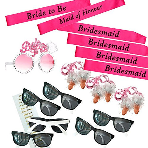 Swank Essentials Bachelorette Party Supplies, Favors and Party Wear - 19 Pieces - Includes Bachelorette Sash Set, Bride To Be Diamond Sunglasses & Bridal Party Sunglasses & Penis Whistles