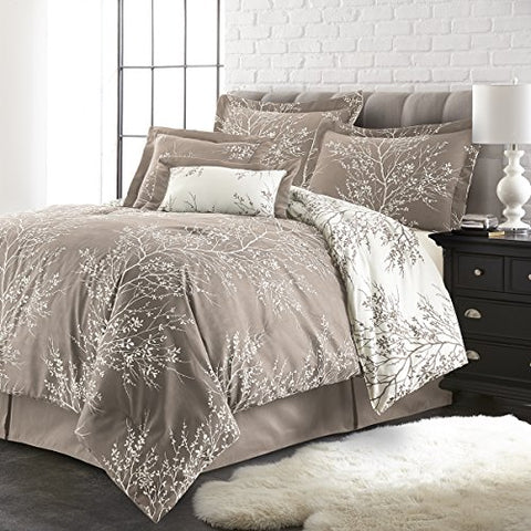 Spirit Linen, Inc Hotel 5th Ave Plush Reversible 6 Piece Comforter Set, Queen, Taupe/White