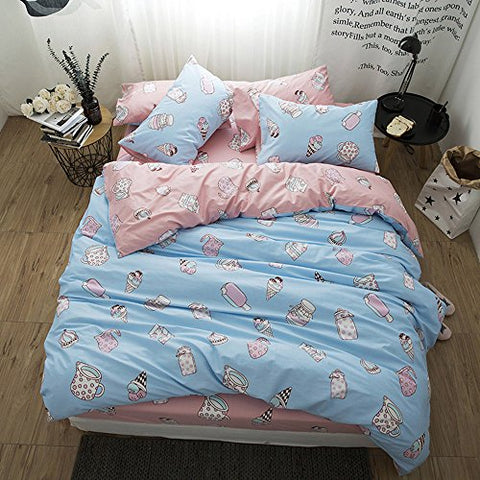 BuLuTu Ice Cream Print Twin Kids Duvet Cover Sets Blue Reversible Summer Dessert Cupcake Comforter Bedding Sets 100 Cotton Hidden Zipper Closure For Boys Girls
