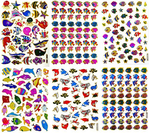 Fish007 - 6 Sheets of Scrapbook Fish Stickers, Fish Scrapbook Stickers, Small Fish Stickers, Reflective Stickers - Animal Stickers for Kids - Size 4 X 5.25/sheet (Clownfish, Whale etc.)