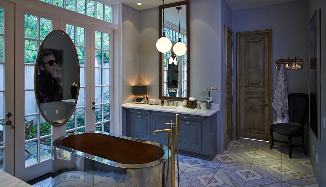 Contemporary Bathroom with Mixed Metals designed by Pierce and Ward