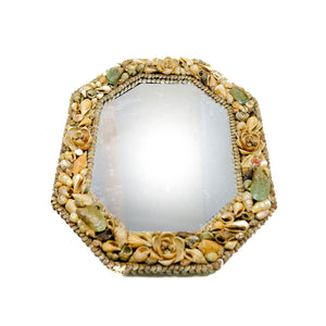 Octagonal Mirror with Seashell Frame