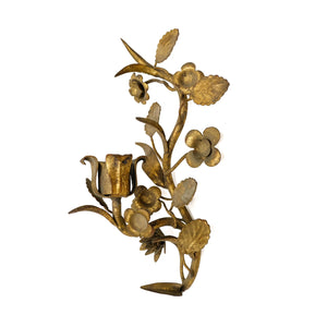 Antique Brass Floral Candle Sconce