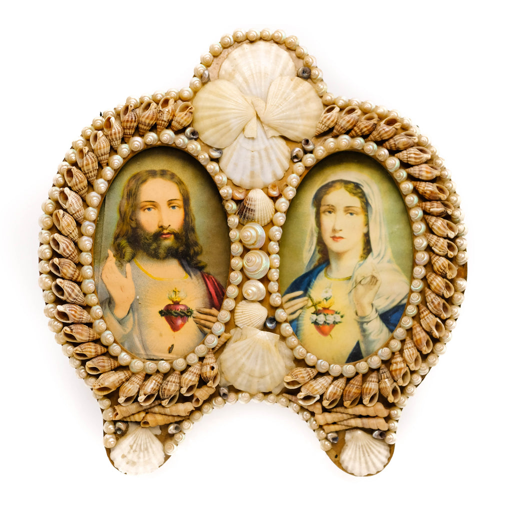 Sea shell encrusted Religious art