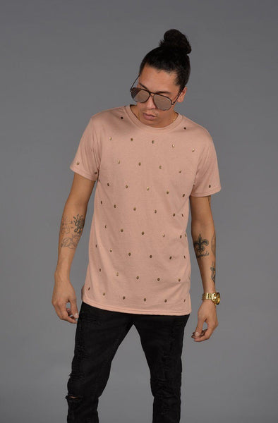 Skull Studded Short Sleeve T-Shirt (Dirty Pink) - Derby Clothes