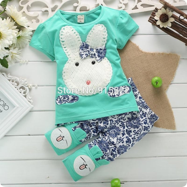 New 2PC Baby Kids Girls and Boys Toddlers Top+Short Pants Set Cute White Rabbit Clothes - Derby Clothes