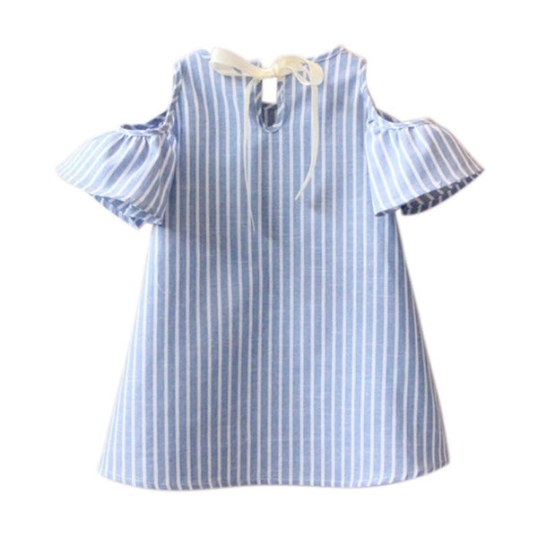 Kids Girl Princess Dress Summer Striped Short Sleeve Mini Dresses - Derby Clothes
