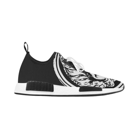 Womens black and White Lion Lace  up Trainers - Derby Clothes