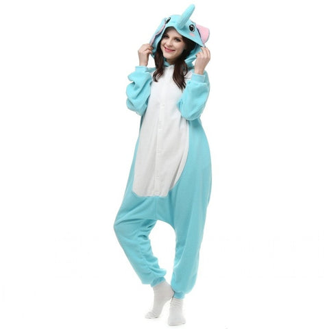 Elephants Pajamas  One Piece Sleepwear Flannel Soft Warm Casual Tracksuit Fashion Clothing - Derby Clothes