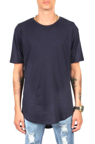 CB Tall Scallop Bottom Tee (Navy) - Derby Clothes