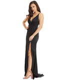 Satin Evening Dress / Front Splits - Black - Derby Clothes