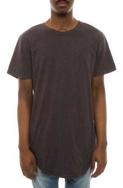 CB Tall Scallop Bottom Tee (Charcoal) - Derby Clothes