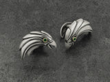 Eagle Cufflinks in Sterling Silver, 18K Gold, Emeralds - Derby Clothes