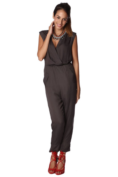 Gray Wrap Jumpsuit - Derby Clothes
