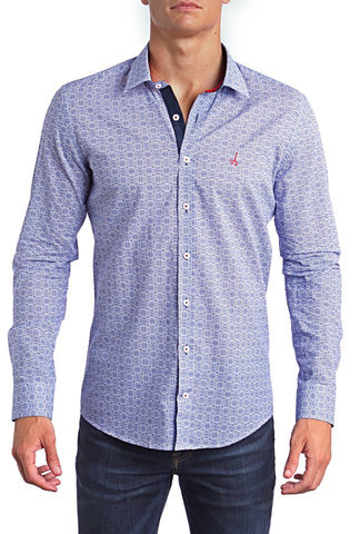 Pattern Blue Andriali Slim Fit Dress Shirt - Derby Clothes
