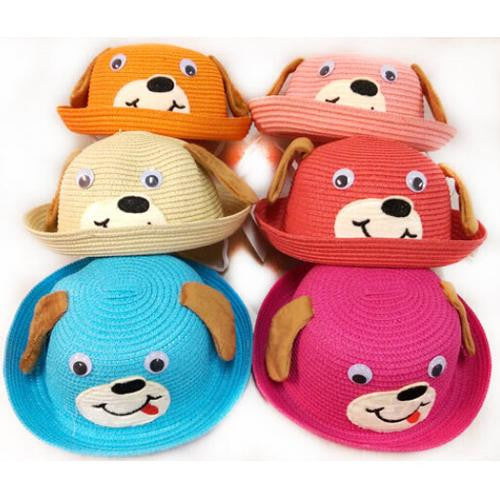 Kids Summer Sun Hat with Cute Doggy Design
