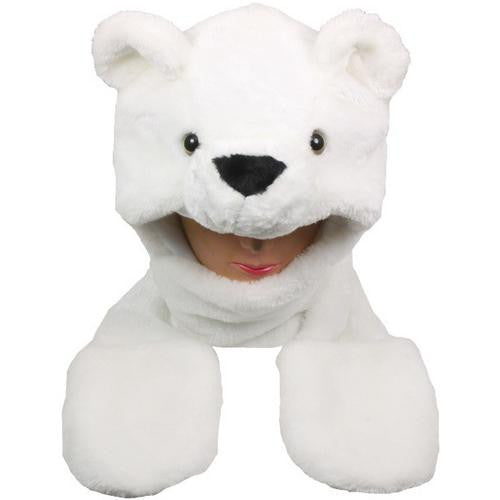 White Bear Animal Winter Hat with Mittens