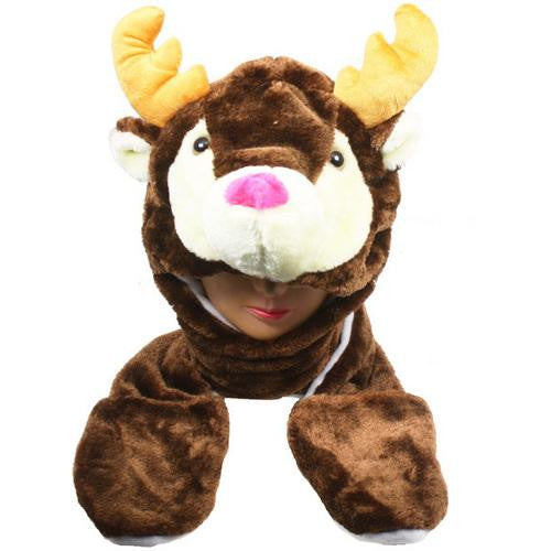 Reindeer Animal Winter Hat With Mittens