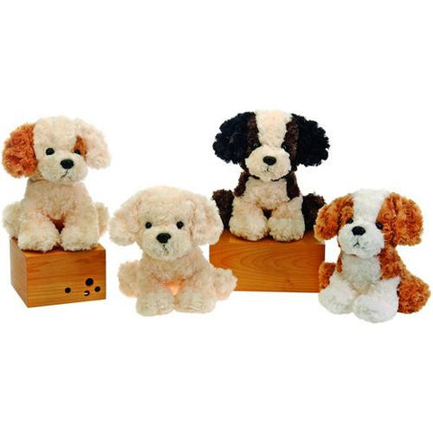 "10"" 4 Assorted Sitting Stuffed Dogs"