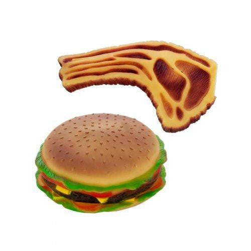 Squeaky Hamburger And Steak Dog Toy (pack of 6)