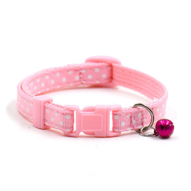 Nylon Polka Dotted Pet Collar with Bell