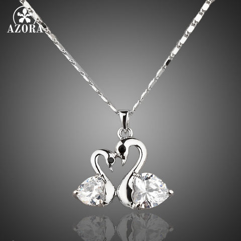 Swans White Gold Austrian Crystal Necklace